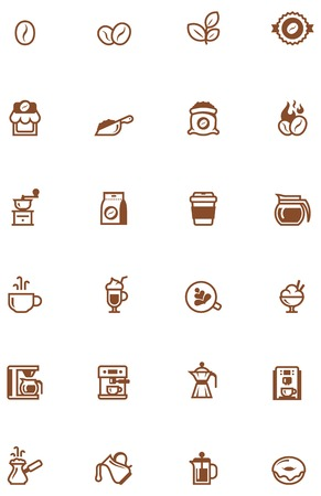 Set of the simple coffee related glyphs