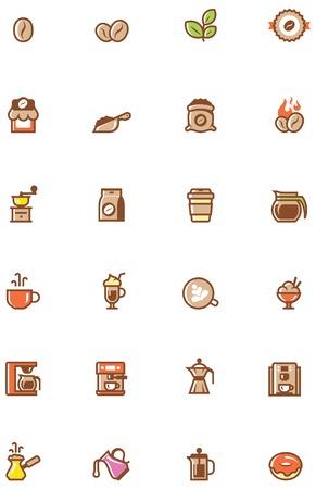chicchi di caffè: Impostare dei caff� semplice relative glifi Vettoriali