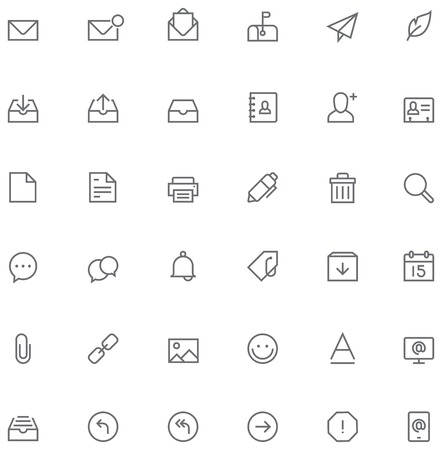 Set of the simple mail related glyphs Vector