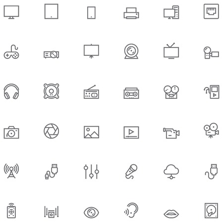 photo printer: Set of the simple Multimedia related glyphs Illustration