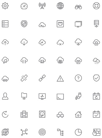 glyphs: Set of the simple network and cloud services related glyphs