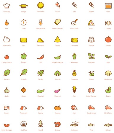 Set of the simple pizza related glyphs Stock Illustratie
