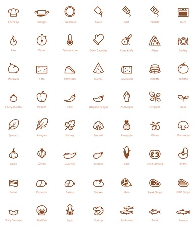 pizza ingredients: Set of the simple pizza related glyphs Illustration
