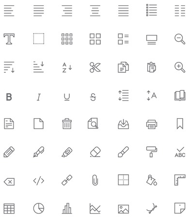 table set: Set of the document editing related glyphs Illustration