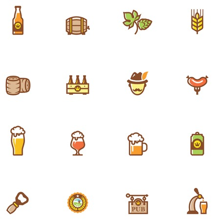 barley hop: Set of the beer  related icon