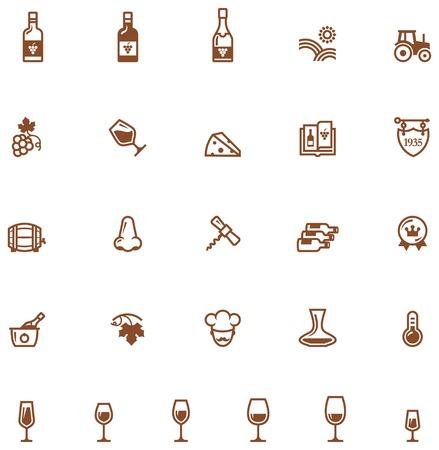 ワイン関連アイコンのセット