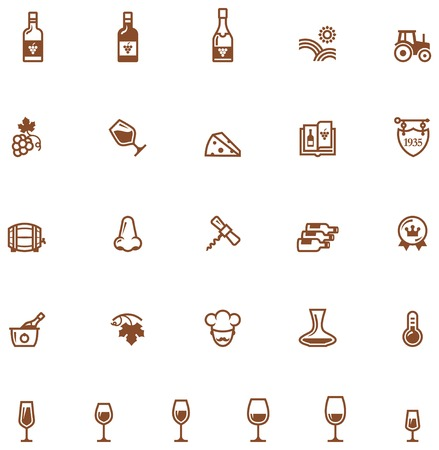 bottle nose: Set of the wine related icon Illustration