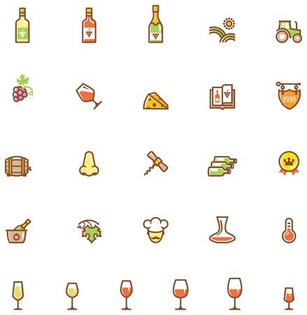 ワイン関連アイコンのセット 写真素材 - 35858079