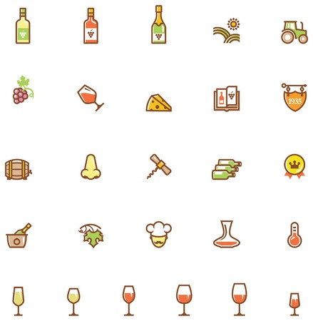 cold storage: Set of the wine related icon Illustration