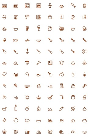dinnerware: Set of the cooking related icon