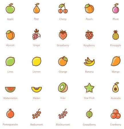 fresa: Ajuste del icono de las frutas relacionadas Vectores