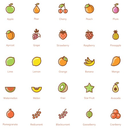 Set of the fruits related icon Vettoriali
