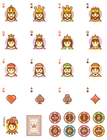 ace of diamonds: Set of the simple playing cards designs and chips