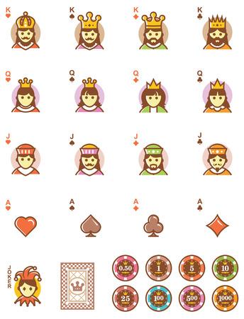 Set van de eenvoudige speelkaarten ontwerpen en chips Stock Illustratie