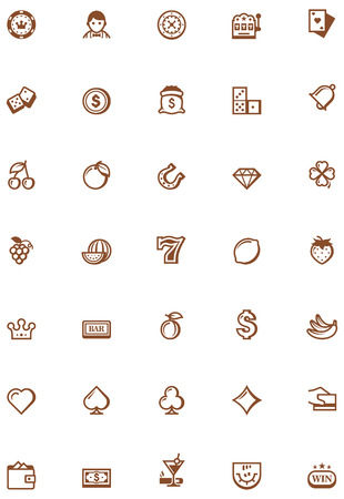 Set of the casino related icons Vector