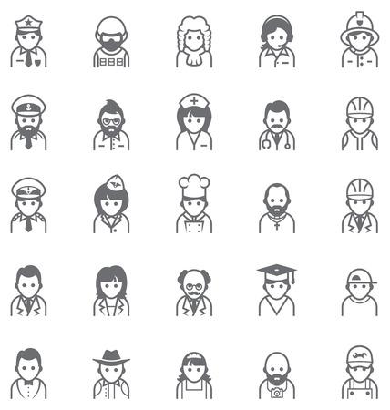 enfermera caricatura: Conjunto de los iconos que representan diferentes personas Vectores