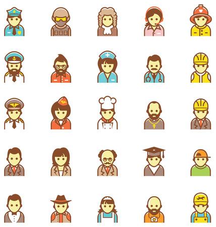 Set van de pictogrammen die verschillende mensen Stock Illustratie