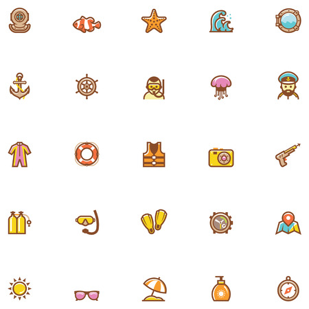 speargun: Set of the sea vacations related icons