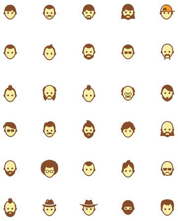 Set of the different male faces Vector