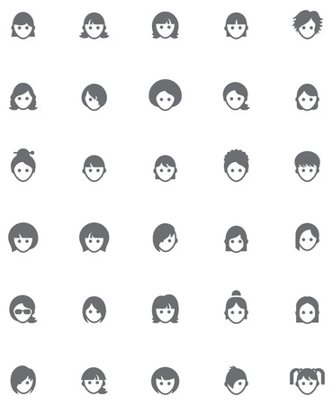Set of the female faces Vector