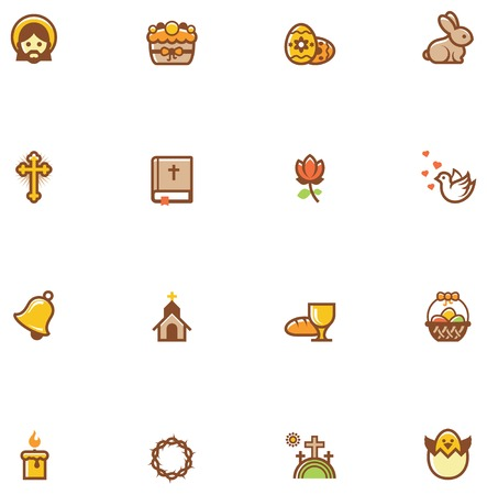 religious celebration: Set of the Easter related icons