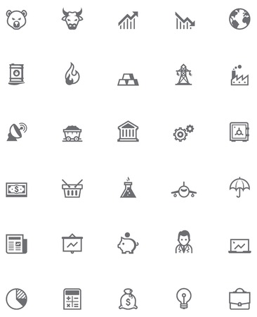 stock trading: Set of the stock market related icons