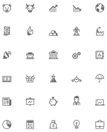 Set van de beurs gerelateerde pictogrammen Stock Illustratie