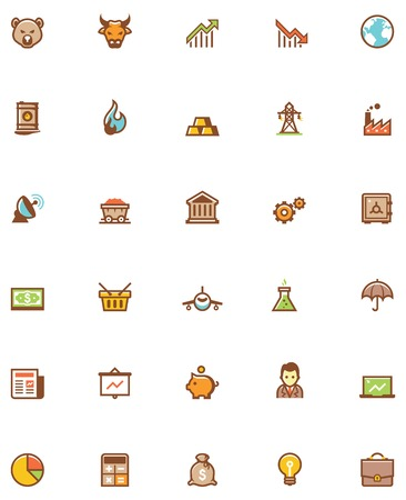 gold mining: Set of the stock market related icons