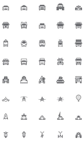motor officer: Set of the transportation related icons