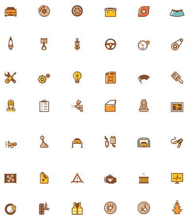 Set of the car service and repair related icons Vector