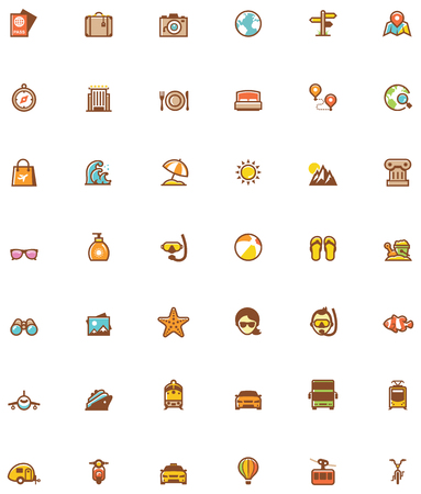 sun bed: Set of the travel related icons