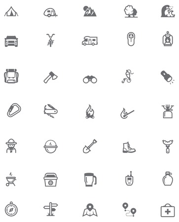 hiking boots: Set of the travel and camping related icons