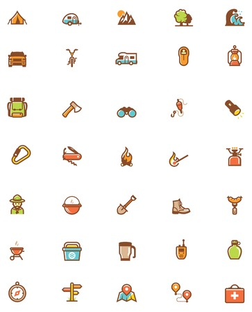 hiking: Set of the travel and camping related icons