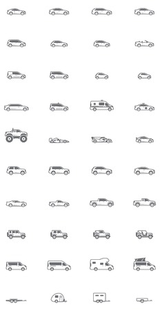 wagon wheel: Set of the different types of cars