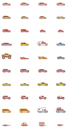 crossover: Set of the different types of cars