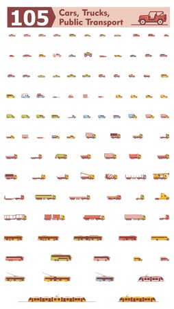 Set of the different types of cars, trucks and public transport
