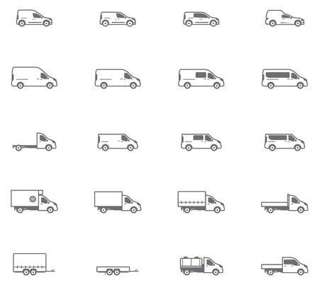 Jogo dos diferentes tipos de veículos de transporte comercial Ilustração