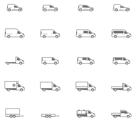 Set of the different types of commercial transport vehicles