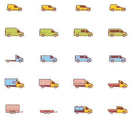wagon wheel: Set of the different types of commercial transport vehicles