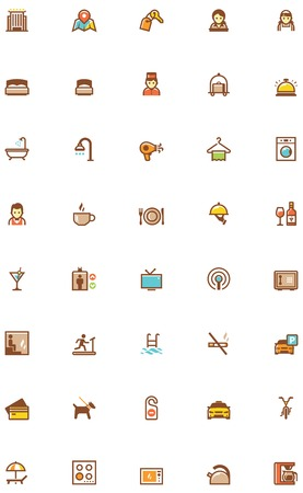 bedclothes: Set of the hotel services related icons Illustration