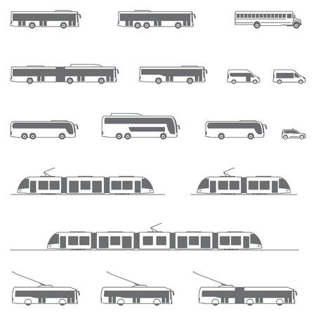 транспорт: Набор различных типов транспортных средств общего пользования