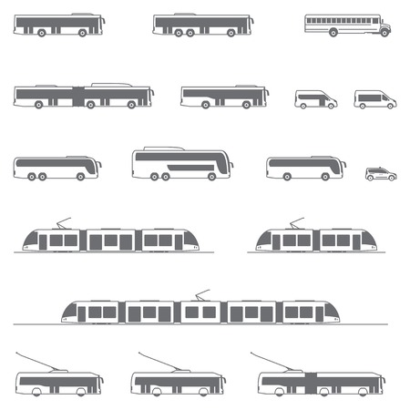 Set of the different types of public transport vehicles Stock Illustratie