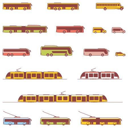 doubledecker: Set of the different types of public transport vehicles Illustration
