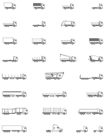 Conjunto de los diferentes tipos de vehículos de camiones