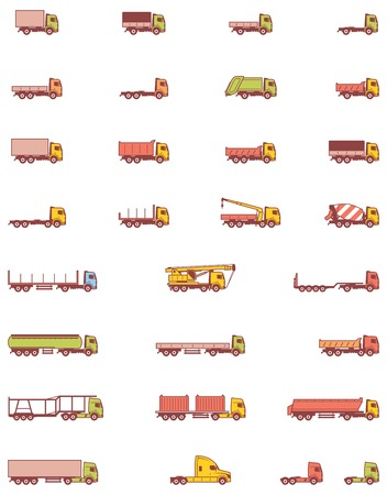crane truck: Set of the different types of trucks vehicles