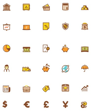 bank withdrawal: Set of the banking related icons
