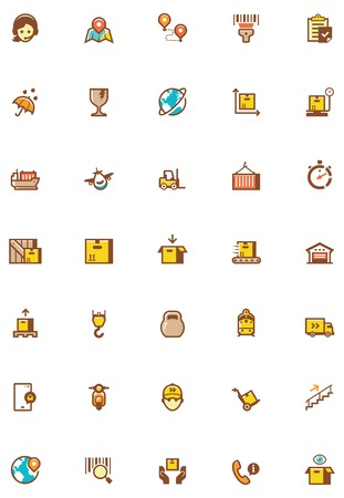 box weight: Set of the logistic related icons