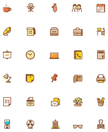 Set of the office related icons Vector
