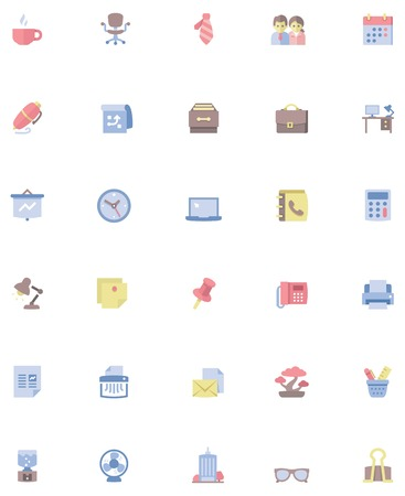 Set of the office related icons