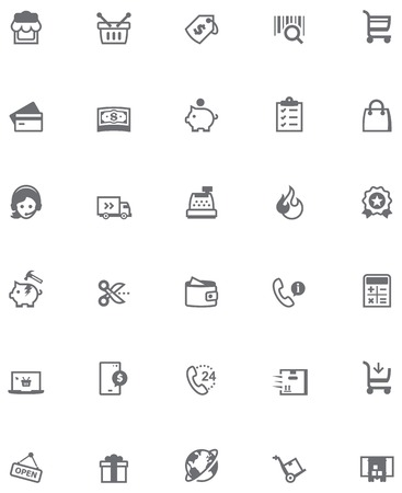 e wallet: Set of the shopping related icons